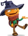 Halloween Scarecrow Cartoon Vector Character - Presenting