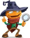 Halloween Scarecrow Cartoon Vector Character - Searching