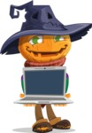 Halloween Scarecrow Cartoon Vector Character - Showing a Laptop