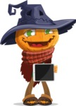 Halloween Scarecrow Cartoon Vector Character - Showing on a Blank Tablet
