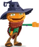 Halloween Scarecrow Cartoon Vector Character - Showing with a Hand