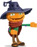 Halloween Scarecrow Cartoon Vector Character - Showing witha Smile
