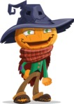 Halloween Scarecrow Cartoon Vector Character - Smiling