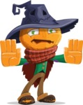 Halloween Scarecrow Cartoon Vector Character - Stopping with Hands