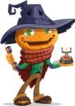Halloween Scarecrow Cartoon Vector Character - Talking on Phone