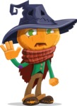 Halloween Scarecrow Cartoon Vector Character - Waving for Goodbye with a Hand
