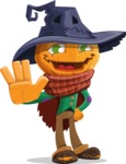 Halloween Scarecrow Cartoon Vector Character - Waving for Welcome with a Hand