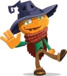 Halloween Scarecrow Cartoon Vector Character - Waving