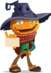 Halloween Scarecrow Cartoon Vector Character - With a Blank Business Card