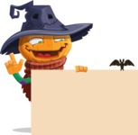 Halloween Scarecrow Cartoon Vector Character - With a Blank Halloween Sign with a Bat
