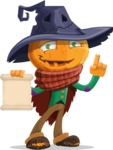 Halloween Scarecrow Cartoon Vector Character - With a Blank Scroll
