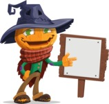 Halloween Scarecrow Cartoon Vector Character - With a Blank Wood Sign
