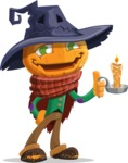 Halloween Scarecrow Cartoon Vector Character - With a Candle