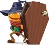 Halloween Scarecrow Cartoon Vector Character - With a Coffin and a Zombie