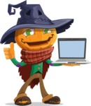 Halloween Scarecrow Cartoon Vector Character - With a Computer