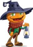 Halloween Scarecrow Cartoon Vector Character - With a Lantern