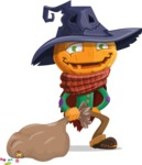 Halloween Scarecrow Cartoon Vector Character - With a lot of Halloween Treats