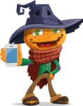 Halloween Scarecrow Cartoon Vector Character - With a Phone