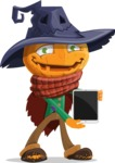 Halloween Scarecrow Cartoon Vector Character - With a Tablet