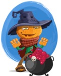 Halloween Scarecrow Cartoon Vector Character - With a Watercolor Background