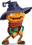 Halloween Scarecrow Cartoon Vector Character - With Angry Face