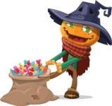 Halloween Scarecrow Cartoon Vector Character - With Bag full of Halloween Treats