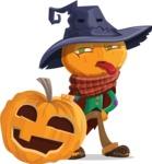 Halloween Scarecrow Cartoon Vector Character - With Big Halloween Pumpkin