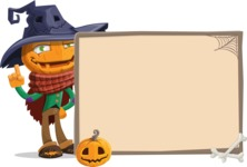 Halloween Scarecrow Cartoon Vector Character - With Blank Halloween Whiteboard