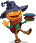 Halloween Scarecrow Cartoon Vector Character - With Books