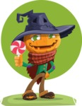 Halloween Scarecrow Cartoon Vector Character - With Candy and Flat Halloween Background