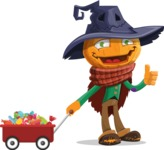 Halloween Scarecrow Cartoon Vector Character - With Candy Wagoon
