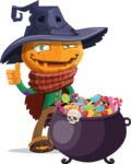 Halloween Scarecrow Cartoon Vector Character - with Cauldron full of Sweets