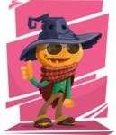 Halloween Scarecrow Cartoon Vector Character - With Colorful Background