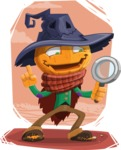 Halloween Scarecrow Cartoon Vector Character - With Cool Simple Style Background