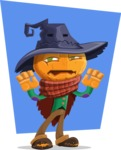 Halloween Scarecrow Cartoon Vector Character - With Flat Background