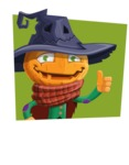 Halloween Scarecrow Cartoon Vector Character - With Flat Shape Background as Sticker