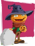 Halloween Scarecrow Cartoon Vector Character - With Grave and Background