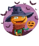 Halloween Scarecrow Cartoon Vector Character - With Halloween Background with Bats