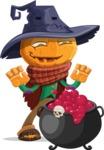 Halloween Scarecrow Cartoon Vector Character - With Halloween Caldron