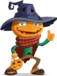 Halloween Scarecrow Cartoon Vector Character - With Halloween Lantern