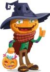 Halloween Scarecrow Cartoon Vector Character - with Halloween Pumpkin and Candies