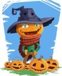 Halloween Scarecrow Cartoon Vector Character - With Halloween Pumpkins and Background