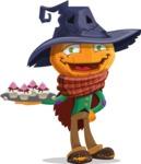 Halloween Scarecrow Cartoon Vector Character - With Halloween Sweets