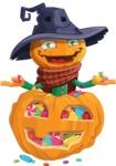 Halloween Scarecrow Cartoon Vector Character - With Huge Pumpkin full of Treats