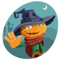 Halloween Scarecrow Cartoon Vector Character - With Night Background