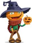 Halloween Scarecrow Cartoon Vector Character - With Pumpkin