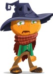 Halloween Scarecrow Cartoon Vector Character - With Sad Face