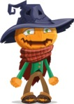 Halloween Scarecrow Cartoon Vector Character - With Stunned Face