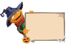 Halloween Scarecrow Cartoon Vector Character - With Whiteboard on Halloween Theme