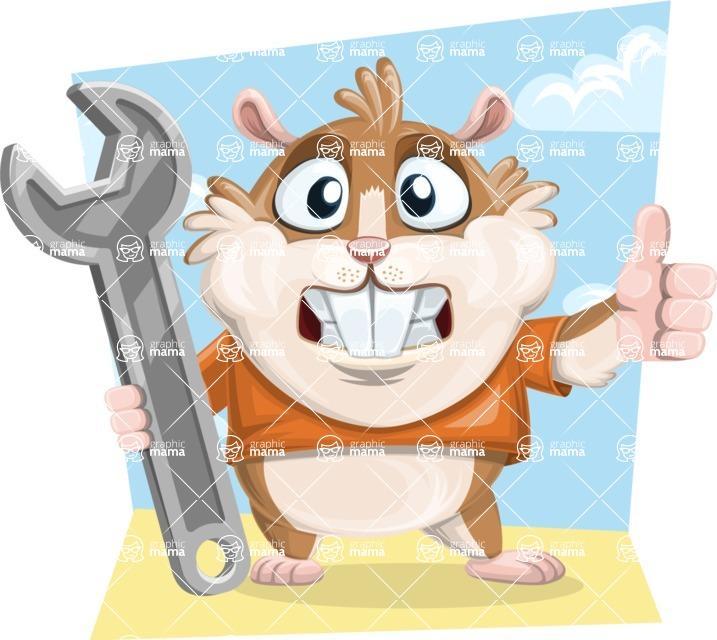 Hamster Cartoon Vector Character AKA Bean McRound - Shape 9